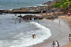 Rio Vermelho-rivierstrand in Bahia royalty-vrije stock afbeelding