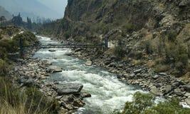 Rio Vilcanota nel Perù Immagini Stock