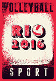 Rio 2016 volleyball typographic vintage grunge style poster. Retro vector illustration. Stock Image