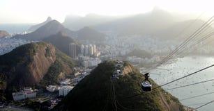 RIO wagon kolei linowej na Sugarloaf górze fotografia royalty free