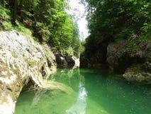 Rio Walchen perto do lago Sylvenstein Imagem de Stock Royalty Free