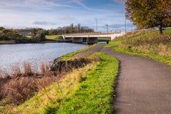 Rio Wansbeck sob a ponte de Stakeford Fotografia de Stock Royalty Free
