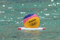Rio 2016 water polo ball at the Maria Lenk Aquatic Center in Rio de Janeiro. RIO DE JANEIRO, BRAZIL - AUGUST 10, 2016: Rio 2016 water polo ball at the Maria Lenk Stock Image