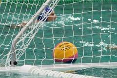 Rio 2016 water polo ball at the Maria Lenk Aquatic Center in Rio de Janeiro Royalty Free Stock Images