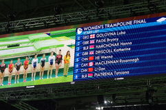 Rio2016 women trampolene finals Stock Images