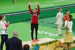 Rio2016 women trampolene medalists stock photos