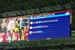 Rio2016 women trampolene medalists Stock Photo