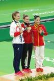 Rio2016 women trampolene medalists Stock Image