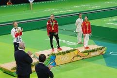 Rio2016 women trampolene medalists Stock Photography