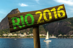 Rio 2016 wooden sign, Brazil Royalty Free Stock Image