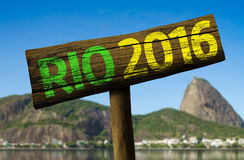 Rio 2016 wooden sign, Brazil Royalty Free Stock Photos
