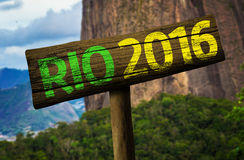 Rio 2016 wooden sign, Brazil Royalty Free Stock Images