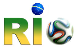 Rio World Cup Logo. Rio World Cup 2014 Logo with Brasilian flag colours and football. Isolated on white background Stock Images