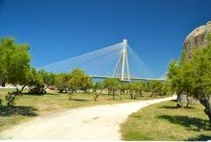 Rioa在patra希腊的antirio桥梁 免版税库存照片