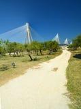 Rioa antirio bridge in patra greece. Photos taken from patra fortress stock photo