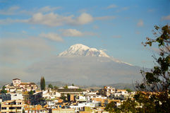 Riobamba and Chimborazo volcano, Ecuador Stock Photo