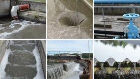Rioleringswaterzuiveringsinstallatie Blauwe plugkraanklep Klemcollage stock footage