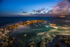 Riomaggiore海岸 库存照片