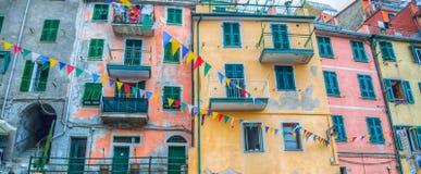 Riomaggiore, Cinque Terre,意大利-大厦 免版税库存照片