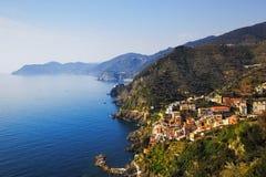Riomaggiore и через Dell Amore, путь влюбленности, вида с воздуха Ci Стоковые Изображения RF