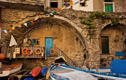 Riomaggiore, architectural detail, Italy. Cinque Terre, Italy - Riomaggiore colorful fishermen village, architectural detail stock images
