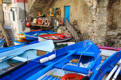 Riomaggiore Boats in Cinque Terre Italy Stock Photo