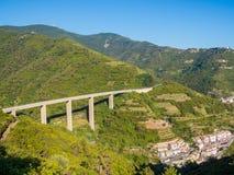 Riomaggiore Bridge. View of the bridge connecting Riomaggiore to Manarola in the Cinque Terre Riviera in Liguria, north Italy. UNESCO World Heritage Site Royalty Free Stock Image