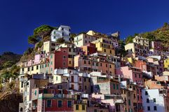 Riomaggiore buildings. Traditional buildings in Riomaggiore, Cinque Terre, Italy Stock Image