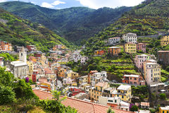 Riomaggiore, Cinque Terra, Italy. Home and Vineyards on the hills of Riomaggiore, Cinque Terra, Italy Stock Photo