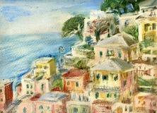 Riomaggiore, Cinque Terre. Sea view : fishing village of Riomaggiore, Cinque Terre, Italy Royalty Free Stock Images