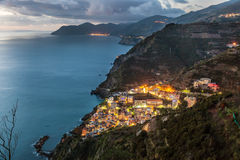 Riomaggiore and Cinque Terre coastline. Liguria, Italy Royalty Free Stock Image