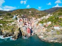 Riomaggiore, Cinque Terre in Italië stock afbeelding