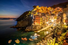 Riomaggiore, Cinque Terre - Italië stock afbeelding
