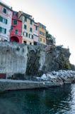 Riomaggiore in Cinque Terre, Itali? stock afbeeldingen