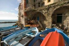 Riomaggiore, Cinque Terre, Italien stockfotos