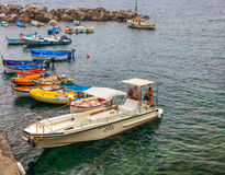 Riomaggiore, Cinque Terre, Italy - Boat For Rent Royalty Free Stock Photos