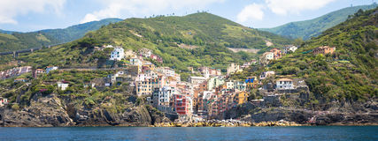 Riomaggiore in Cinque Terre, Italy - Summer 2016 - view from the Stock Photos