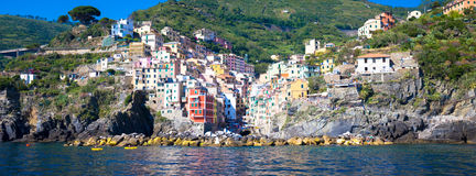 Riomaggiore in Cinque Terre, Italy - Summer 2016 - view from the Royalty Free Stock Photography