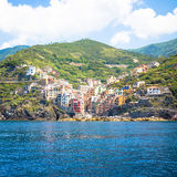 Riomaggiore in Cinque Terre, Italy - Summer 2016 - view from the Stock Photo