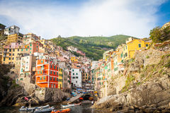 Riomaggiore in Cinque Terre, Italy - Summer 2016 - view from the Stock Image