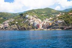 Riomaggiore in Cinque Terre, Italy - Summer 2016 - view from the Stock Image