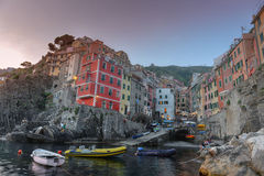 Riomaggiore, Cinque Terre, Italy surprised at sunset Stock Images