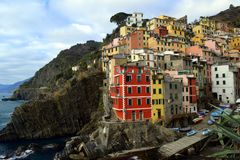 Riomaggiore Cinque Terre, Liguria, Italy arkivbild