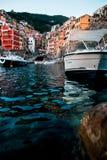 Riomaggiore cinque terre low angle water long exposure stock photo