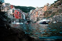 Riomaggiore cinque terre low angle water long exposure royalty free stock photos