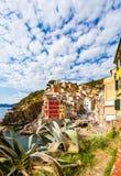Riomaggiore in Cinque Terre National Park on Italian Riviera Stock Photography