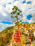 Riomaggiore, Cinque Terre National Park, Liguria, La Spezia Fotografia Stock Libera da Diritti