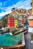 Riomaggiore, Cinque Terre park narodowy, Liguria, Włochy Fotografia Stock