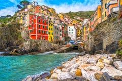 Riomaggiore, Cinque Terre park narodowy, Liguria, Włochy Zdjęcie Stock