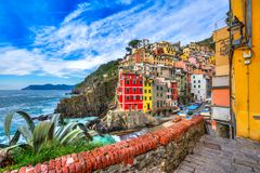 Riomaggiore, Cinque Terre park narodowy, Liguria, Włochy Obraz Royalty Free